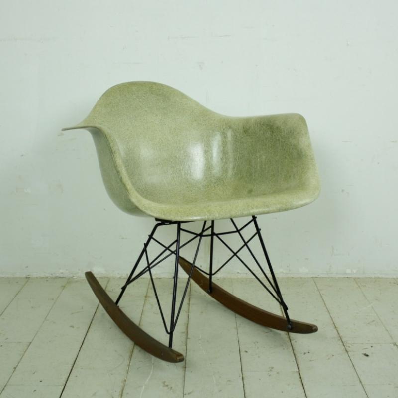 eames herman miller rar rocking chair in seafoam green with rope edge