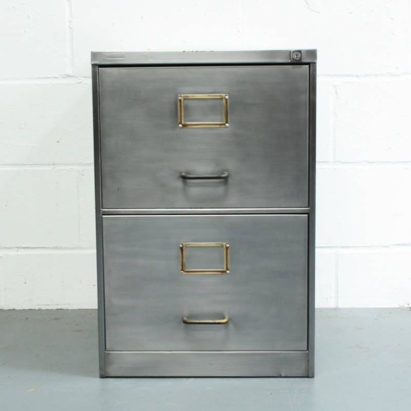 2 drawer vintage stripped steel filing cabinet with brass handles ...