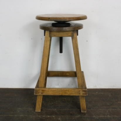 Good Vintage Industrial Adjustable Wooden Stool