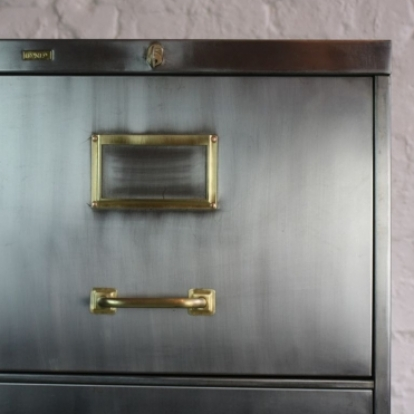 Mid century polished steel filing cabinet made by Roneo with brass ...