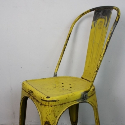 Vintage french steel tolix french cafe chair in yellow lovely and company - Chaise tolix vintage ...
