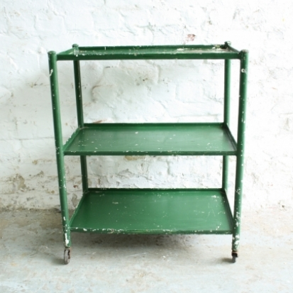 vintage industrial green painted metal shelves trolley lovely rh lovelyandco co uk vintage metal shelving vintage industrial metal shelves