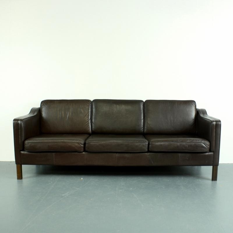 Mogensen Style Vintage 3 Seater Dark Brown Leather Sofa