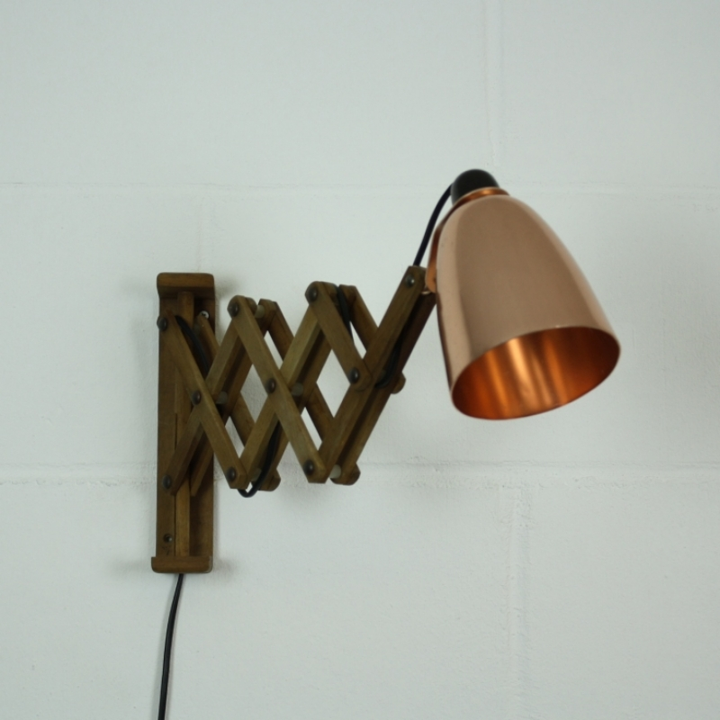 Old Wooden Wall Lights : Vintage scissor Maclamp wall light in copper with extendable wooden arms - Lovely and Company
