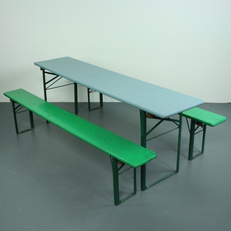 Beau Vintage German Beer Table And Benches Painted