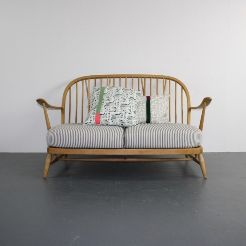 Antique Ercol Sofa: Vintage Ercol Windsor 2 Seater Sofa Upholstered In French