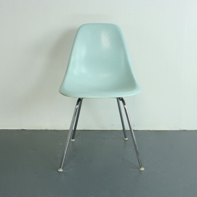 eames herman miller dsw side chair in duck egg blue on original h base lovely and company. Black Bedroom Furniture Sets. Home Design Ideas