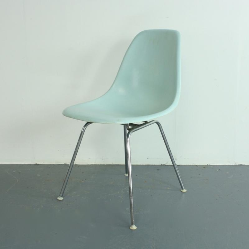 eames herman miller dsw side chair in duck egg blue on original h base lovely and company. Black Bedroom Furniture Sets. Home Design Ideas
