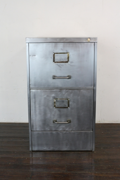 vintage art metal 2 drawer stripped steel filing cabinet lovely and company. Black Bedroom Furniture Sets. Home Design Ideas