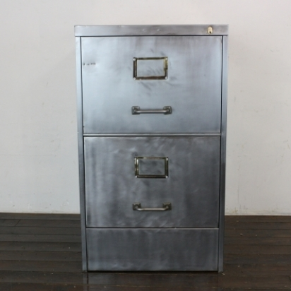 Gentil Vintage Art Metal 2 Drawer Stripped Steel Filing Cabinet