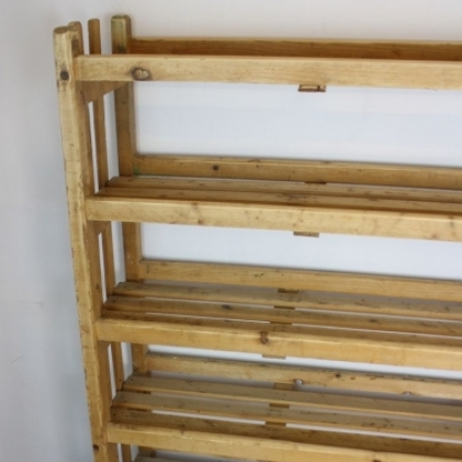 Vintage Industrial wooden shoe rack shelving unit - Lovely and Company