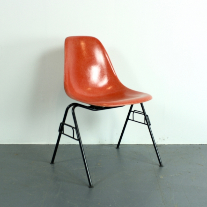eames herman miller dss chair in blood orange on original stacking