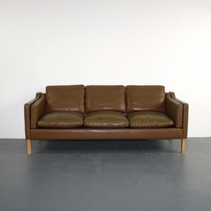 vintage mogensen style 3 seater light brown leather sofa lovely and company. Black Bedroom Furniture Sets. Home Design Ideas