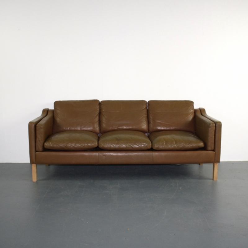 Vintage Mogensen Style 3 Seater Light Brown Leather Sofa