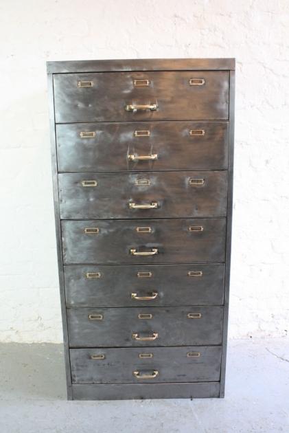 Vintage 7 Drawer Stripped Metal Filing Cabinet Lovely
