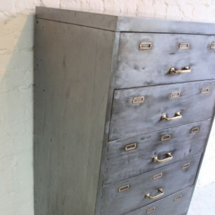 Vintage 7 drawer stripped metal filing cabinet - Lovely and Company
