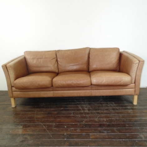 Mogensen Style 3 Seater Light Brown Tan Leather Sofa By