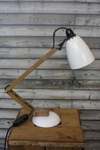 Vintage Maclamp in white with wooden arms