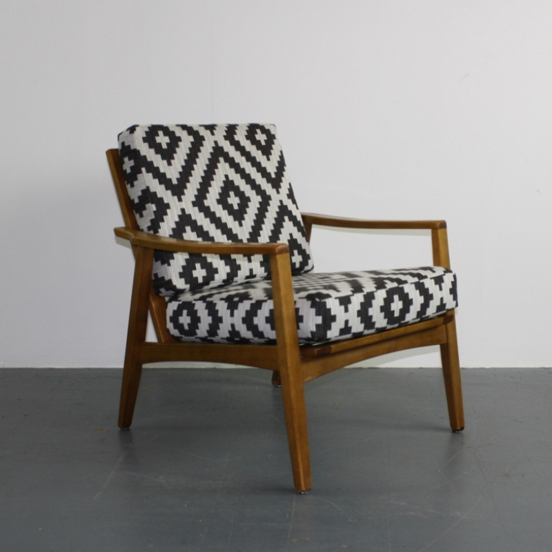 Midcentury Danish Armchair With Geometric Fabric