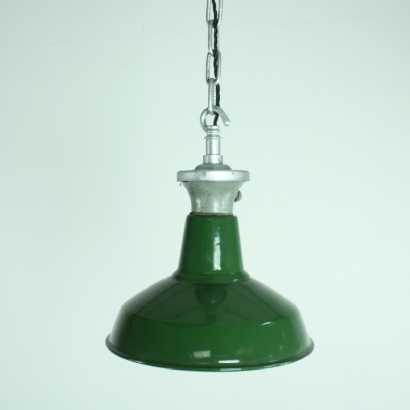 Vintage Industrial Enamel Pendant Light: Vintage Green Enamel Industrial Pendant Light