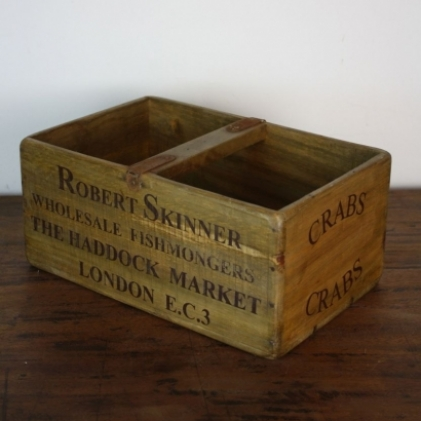 Large wooden fish crate crabs