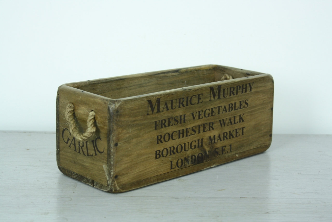 Small Grey Wooden Crate With Rope Handles