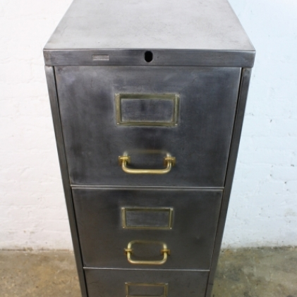 Vintage steel narrow 4 drawer filing cabinet with brass handles ...