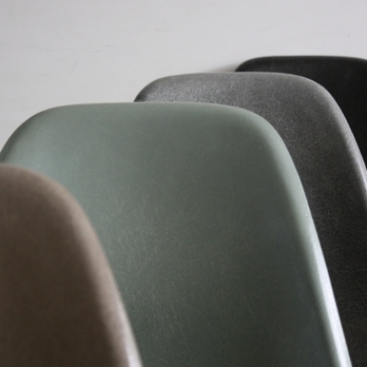 Eames Herman Miller DSW side chairs on eiffel base in greige / elephant grey / seafoam green / black