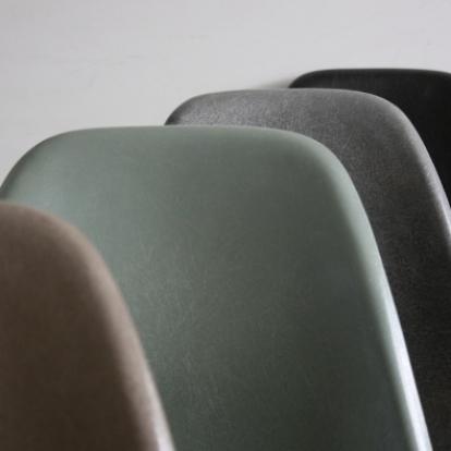 Eames Herman Miller DSW side chairs on eiffel base in greige / elephant grey / seafoam green / black