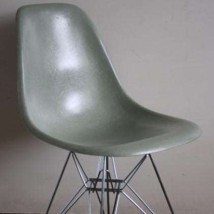 Eames Herman Miller DSW side chairs on eiffel base in greige / terracotta / seafoam green / parchment