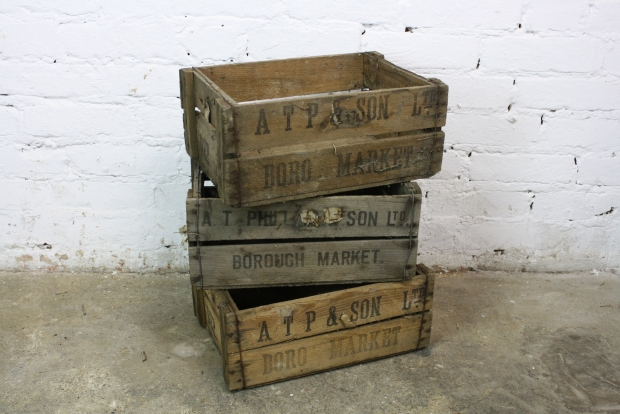 3 x Vintage 1920s Borough market crates