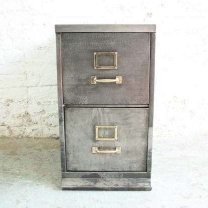 Vintage 2 drawer stripped steel slim filing cabinet - Lovely and Company