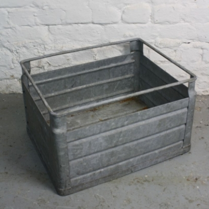 Vintage industrial metal milk crate from germany lovely for Metal shipping crate