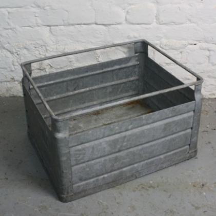 Vintage industrial metal milk crate from Germany