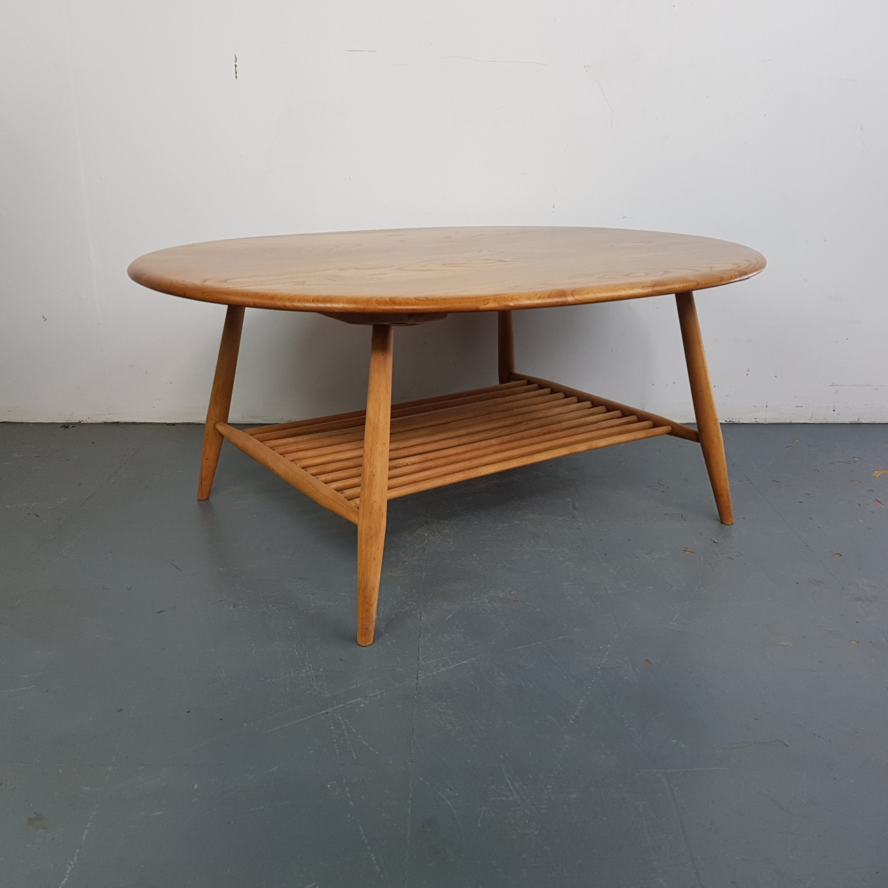 Ercol Oval Coffee Table: Vintage Ercol Round Blonde Coffee Table
