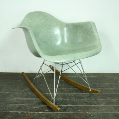 Eames Herman Miller Zenith RAR Rocking Chair In Seafoam Green With Rope Edge