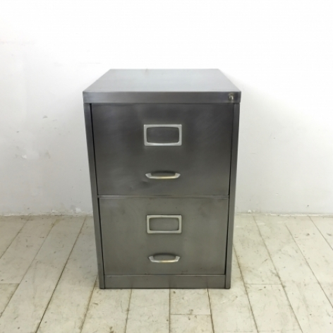 2 drawer vintage stripped steel filing cabinet - Lovely and Company