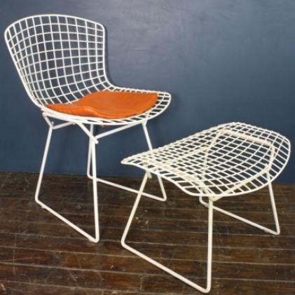 Vintage Bertoia side chair and footstool