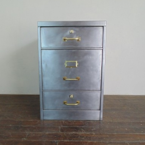 Vintage Stripped Steel Filing Cabinet With Brass Fittings