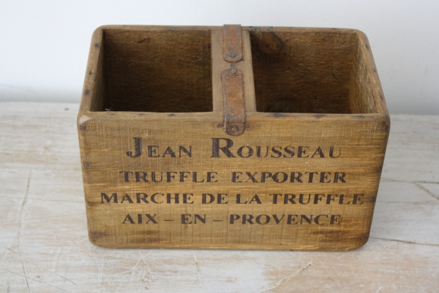 Small wooden fish crate truffles