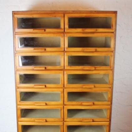 Vintage oak mid century 20 drawer haberdashery cabinet with wooden ...