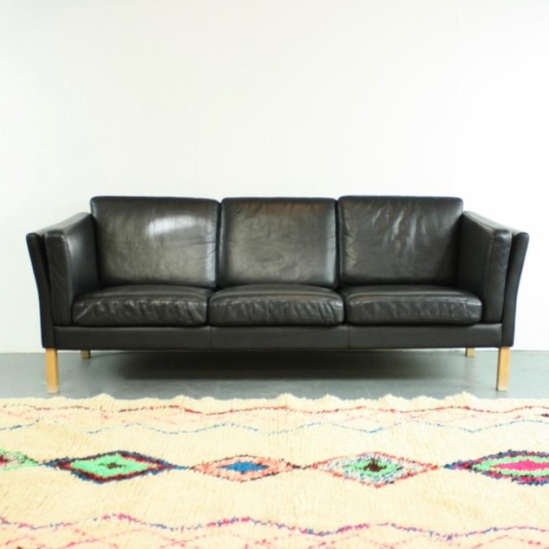Vintage Mogensen Style 3 Seater Black Leather Sofa