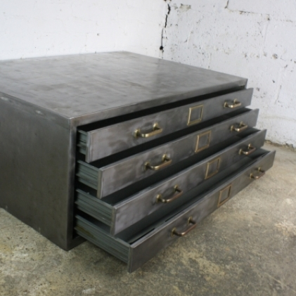 Mid century polished steel plan chest with brass handles and label inserts