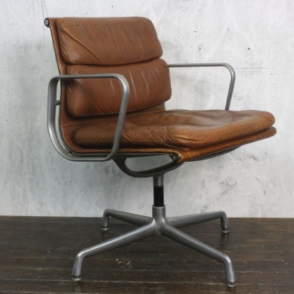 Eames Herman Miller Light Tan Leather Soft Pad Group Chair