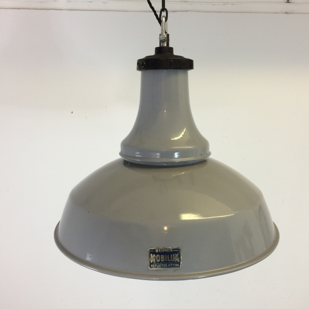 Vintage Industrial Enamel Pendant Light: Vintage Grey Enamel Industrial Pendant Light