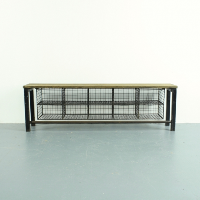 Vintage industrial wire mesh and wooden shoe rack bench - Lovely and ...