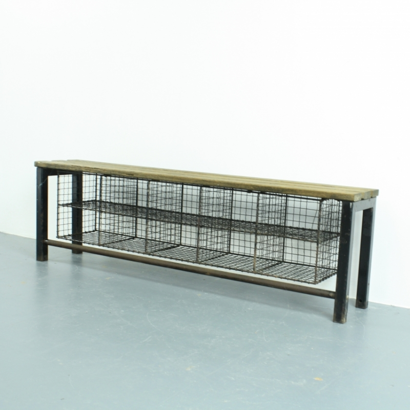 ... industrial wire mesh and wooden shoe rack bench - Lovely and Company