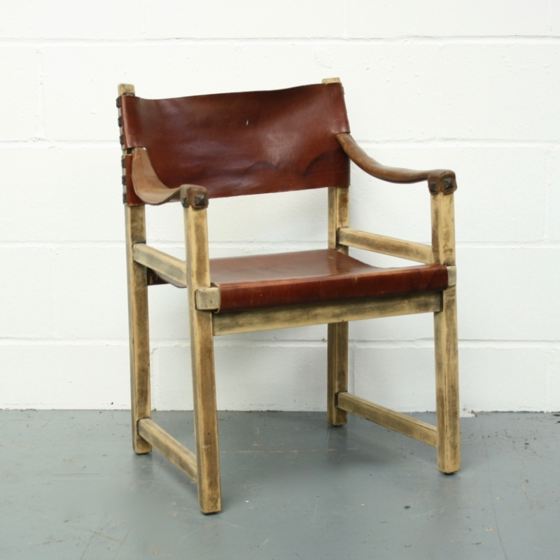 Vintage leather safari chair dining chair Lovely and pany