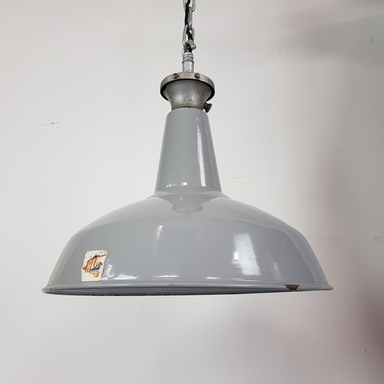 Vintage Industrial Enamel Pendant Light: Vintage Large Grey Enamel Industrial Pendant Light