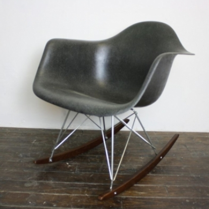 eames herman miller rar rocking chair in dark olive on zinc base